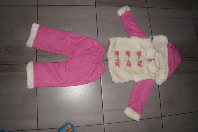 Kombinezon Kurtka Spodnie Zimowe Dziewczynka roz 2-3 lata IDEALNY