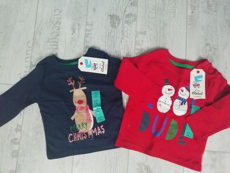 Bluzeczki świąteczne REBEL 6-9 m 74 cm nowe 2 szt