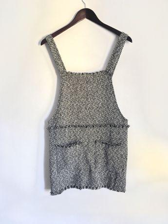 Shein ogrodniczka mini spódnica sukienka na szelkach kieszenie XS 34