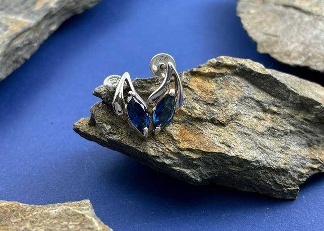 Kolczyki srebrne sztyfty z niebieskim oczkiem