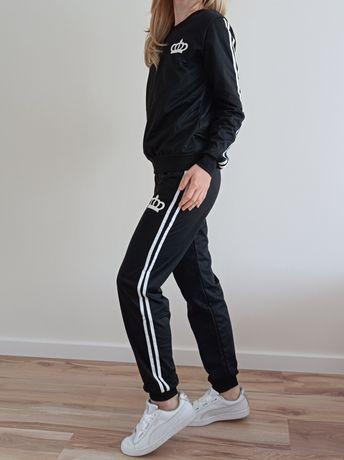 Nowy dres damski komplet dresowy czarny bluza spodnie z lampasami 38 m