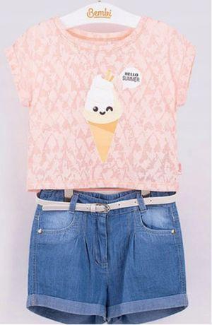 Komplet koszulka i szorty jeansowe 134 nowy