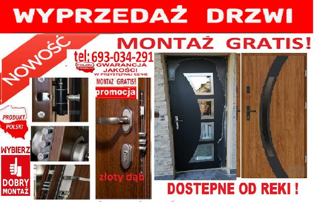 Drzwi ZEWNĘRRZNE z montażem wejściowe, drewniane i metalowe ocieplone