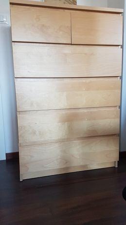 Komoda Ikea Malm, 6 szuflad, okleina dębowa 80x123 cm