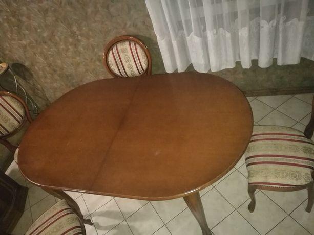 Stół 6 osobowy, stylowy, rozkładany, 6x krzesło + 2x fotel