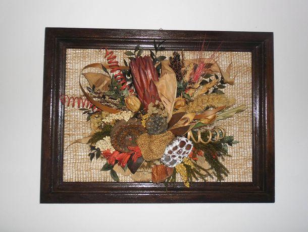 Obraz stroik kompozycja ozdoba prezent z suszu