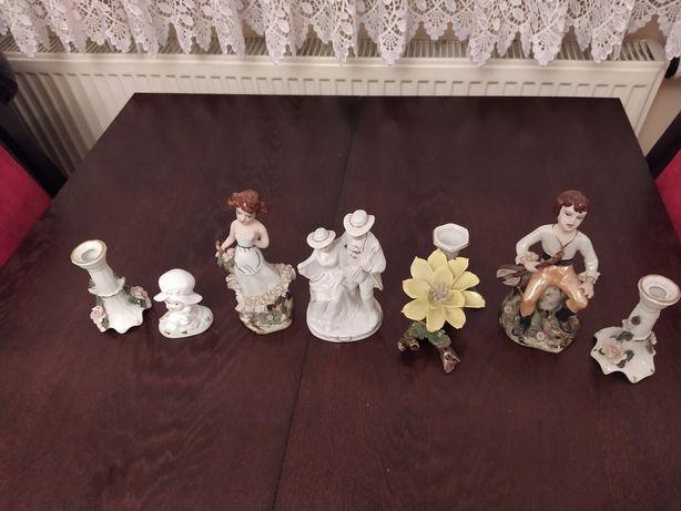 Figurki porcelanowe +3 świeczniki