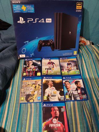 PS4 pro 1tb em exelente estado com caixa e jogos playstation 4