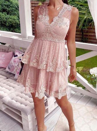 Sukienka mini koronkowa na wesele brudny róż rozmiar M stan idealny