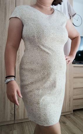 Błyszcząca, złota sukienka. Wizytowa, koktajlowa, ołówkowa, elegancka.