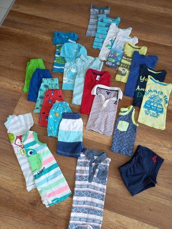 Duży zestaw ubrań t-shirt, spodenki,rampersy dla chłopca rozmiar 74-80