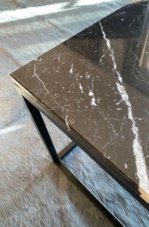 stolik kawowy z blatem marmurowym czarny stolik nowoczesny stolik
