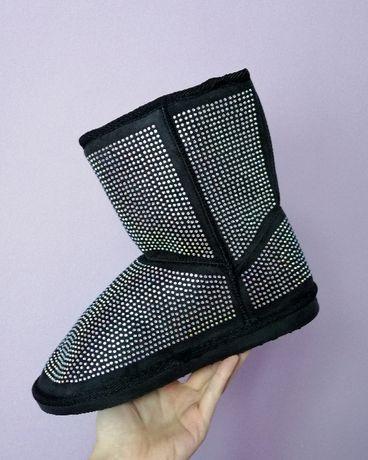 Новые черные зимние угги с маленькими стразами, зимняя обувь