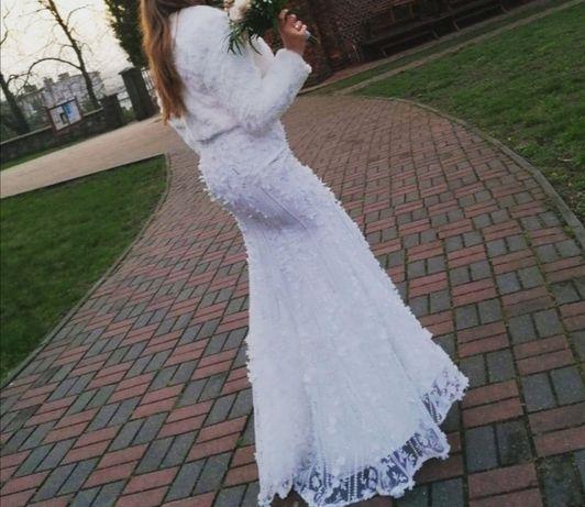 Suknia ślubna biała maxi rybka syrenka jarlo 38 m kwiaty 3D