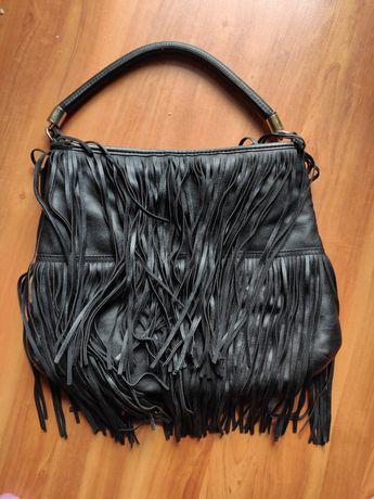 H&M torebka damska skórzana z frędzlami styl boho