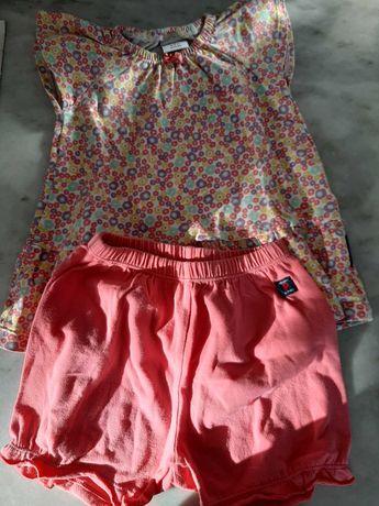 conjunto calções e camisola curta