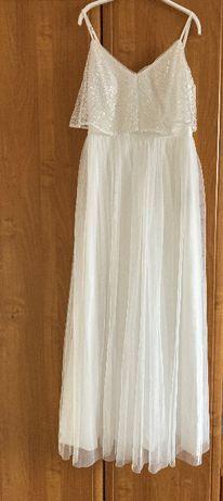 Biała suknia z cekinową górą