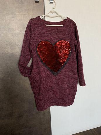 Платье туника ангора с сердечком пайетки