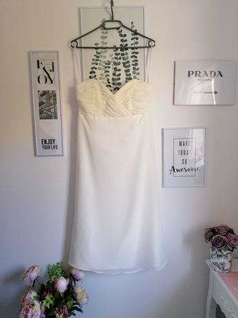 Suknia ślubna slub cywilny M ivory midi vintage wesele panna mloda