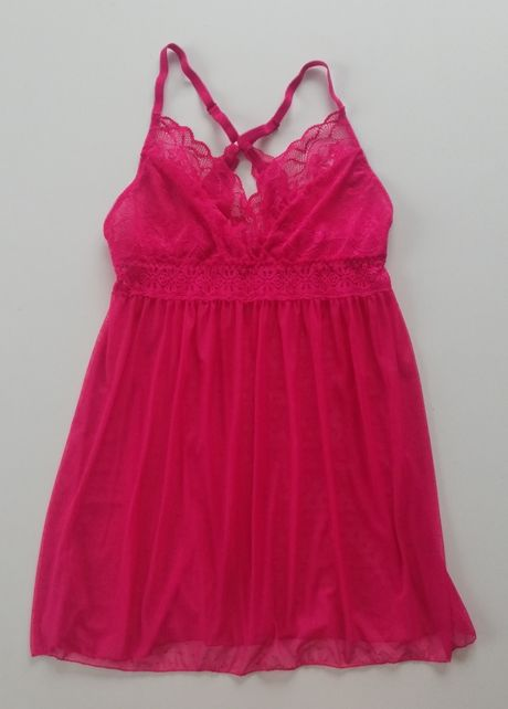 Różowa, koronkowa piżamka 40/L