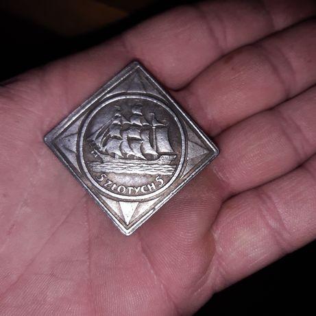 5 zlotych żeglowiec klipa 1936 rok