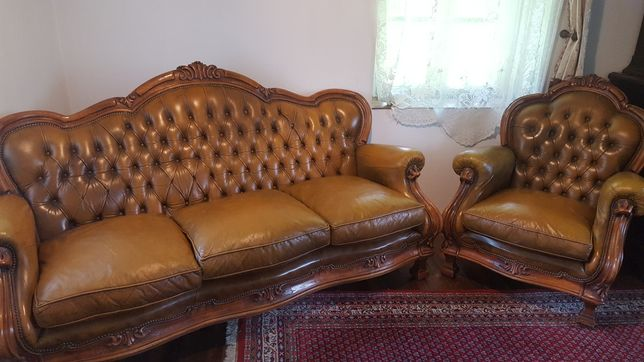 Kanapa + fotel ludwik 3+1 skóra używana drewno.