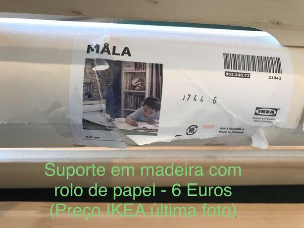 Suporte em madeira para desenhar +rolo de papel da IKEA