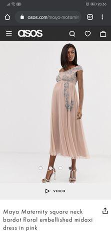 Nowa Asos maternity exclusive Maya 36s 38  sukienka ciążowa Wesele