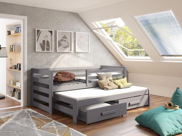Sosnowe łóżeczko dla dziecka. Rozsuwane z barierką i szufladami