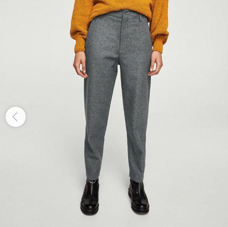 NOWE spodnie Mango committed wełna wool recycled eko szare