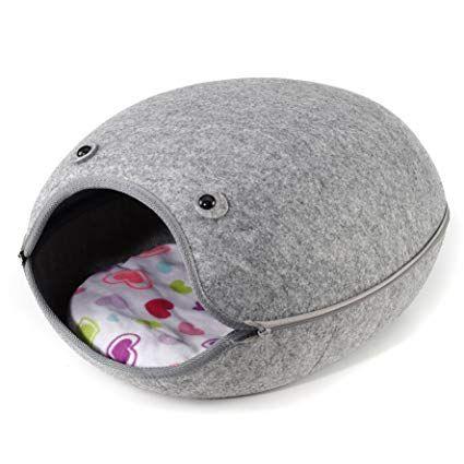 cama de gato Igloo, gatos de estimação, cão pequeno, lavavel , cinza