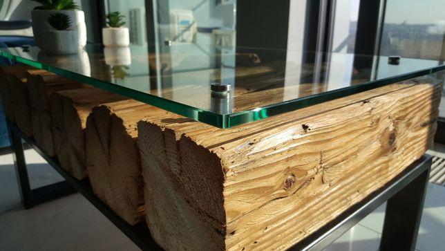 Stolik kawowy z belek / ława z belek stare drewno belki loft