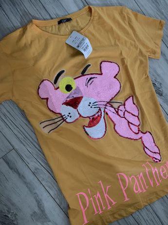 T-shirt bluzka rózowa pantera cekiny żółta S 38