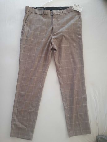 Spodnie męskie H&M w kratę materiałowe L NOWE