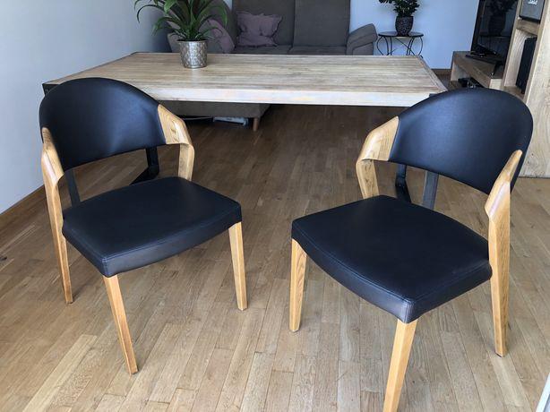 Krzesła skóra naturalna drewno