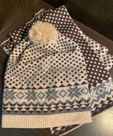 Зимняя шапка + шарф в отличном состоянии