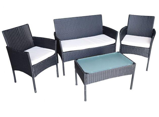 Zestaw mebli rattanowych fotele stolik czarny z kremowymi poduszkami
