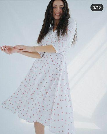 Платье на запах , в горох, белое