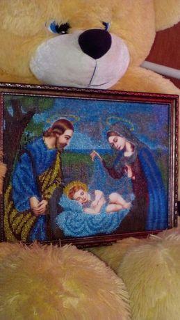 Младенец Иисус, картина бисером
