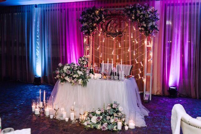 Декор и оформление зала на свадьбу, выездную церемонию, фотозона