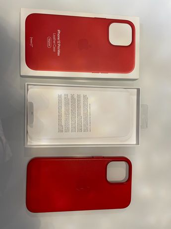 Obudowa Etui iPhone 12 Pro MAX Apple Case Leather Red czerwona skóra
