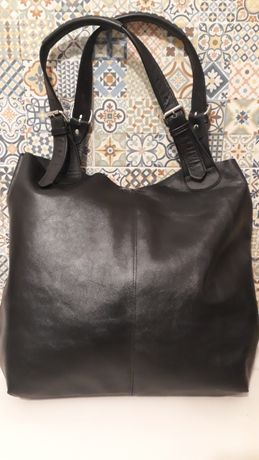 torba skórzana czarna skóra naturalna duża shopper worek