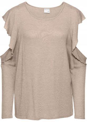 Sweter Pudrowy róż z wycięciami na ramionach r. 36/38