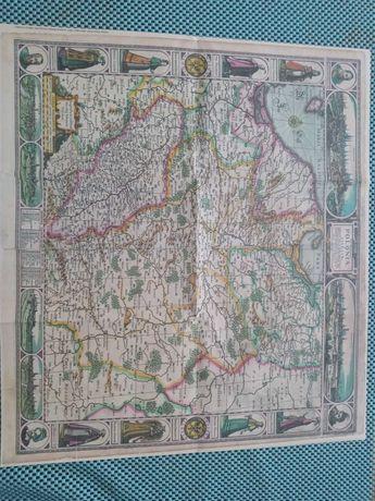 Reprint mapy Polski z 1630roku...