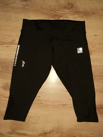 Spodnie fitness legginsy do biegania na rower 40/42 czarne z odblaskam
