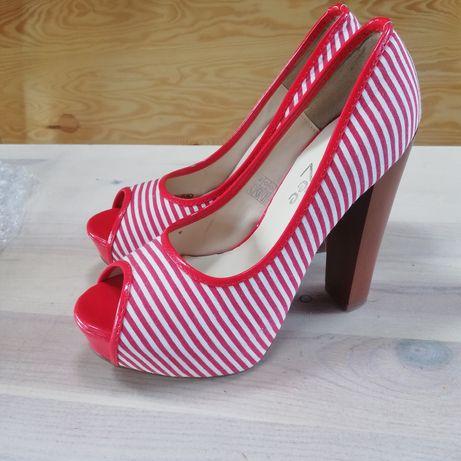 Buty szpilki czółenka DeeZee czerwone wysokie rozmiar 37