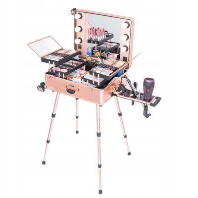 kemier stanowisko przenosne kufer make up kosmetyczny z lustrem wizazu