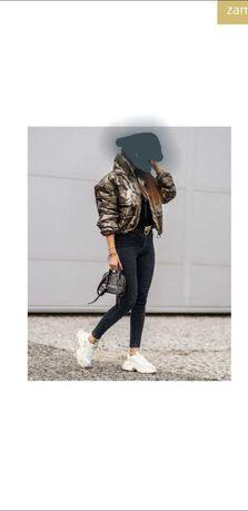 Połyskujaca kurtka damska military jacket JESIEŃ - ZIMA MORO ROZMIAR M