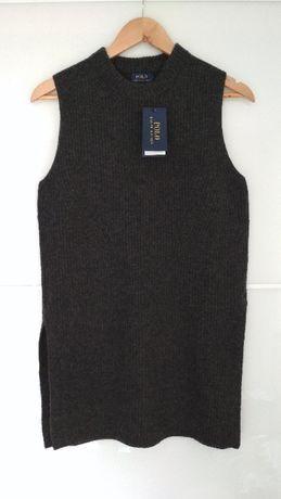 Szara Nowa kamizelka tunika z rozcięciami Ralph Lauren wełna merino