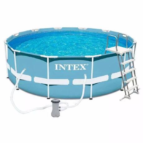 Бассейн басейн Intex каркасный 366х122см, фильтр-насос, лестница,тент